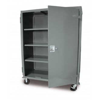 "73-5/8""H Steel Four Shelf Security Cart Truck with Locking Door - FREE Shipping!"