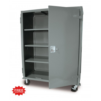 """73-5/8""""H Steel Four Shelf Security Cart Truck with Locking Door - FREE Shipping!"""