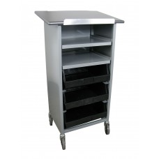 "44""H Tray Shelf Bin Cart - Merchandising Stand with Open Front"