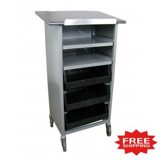 """44""""H Tray Shelf Bin Cart - Merchandising Stand with Open Front - FREE Shipping!"""