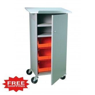 "44""H Tray Shelf Bin Cart - Merchandising Stand with Full Locking Door - FREE Shipping!"