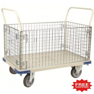 """48""""D X 30""""W Wire Caged Steel Platform Box Truck - FREE Shipping!"""