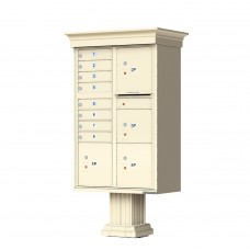 8 Tenant Door Classic Decorative CBU Mailbox (Pedestal Included) - Type 6 - 1570-8T6AF-DC