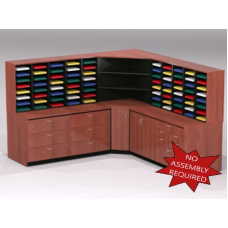 Mail Room Furniture - Complete Wood Mail Center with 80 Pockets and Storage