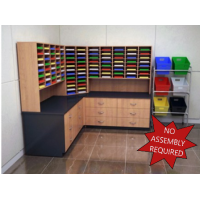 "Mail Room Furniture - Complete Wood Mail Center with 104 Pockets, 12""D and Lower Storage Cabinets, 30""D."