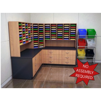 """Mail Room Furniture - Complete Wood Mail Center with 104 Pockets, 12""""D and Lower Storage Cabinets, 30""""D."""