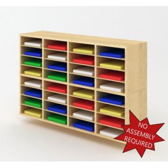"Mail Room Furniture - 49-3/4""W Custom Wood Sorter - 32 Pocket."