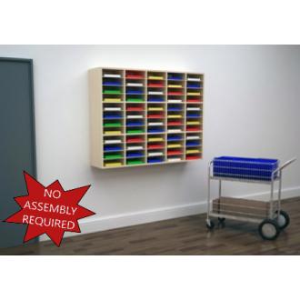 "Mail Room Furniture - 62""W Attractive Wood Sorter / Organizer, 60 pocket sorter"