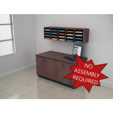 Mail Room Furniture - Wall Mount Wood 20 Pocket Mail Sorter with Lower Cabinet.