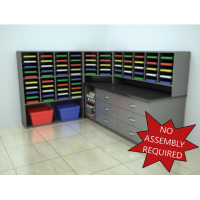 Mail Room Furniture - Complete Wood Mail Center with 75 Mail Pockets and Storage