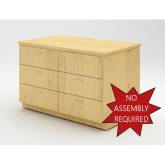 """Mail Room and Office Furniture - 38-1/2"""" Wide Wood Table with 6 Drawers"""