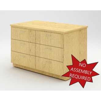 """Mail Room And Office Furniture - 50-3/4"""" Wide Wood Table with 6 Drawers"""