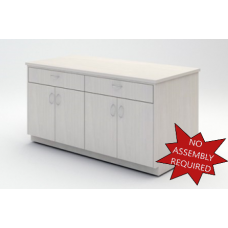 """Mail Room And Office Furniture - 63"""" Wide Wood Table with Doors and Drawers"""