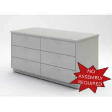 """Mail Room And Office Furniture - 63"""" Wide Wood Table with 6 Drawers"""
