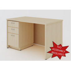 "Mail Room and Office Furniture _ 50-3/4""W Wood Desk with File Drawers"