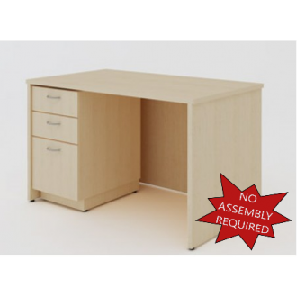 """Mail Room and Office Furniture _ 50-3/4""""W Wood Desk with File Drawers"""