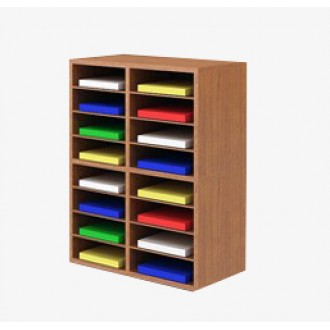 "Custom Mail Room Furniture - 25-1/4""W Custom Wood Sorter - 16 Pocket."