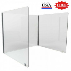 "3 Sided Clear Thermoplastic Desktop Protection Screen 24""W x 24""D x 24""H for Safe Physical Distancing - FREE SHIPPING!!"