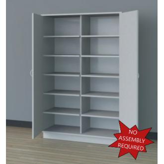 """48""""W, 6 Opening Wooden Locking Storage Cabinet"""