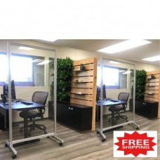 "Acrylic Mobile Divider Protection Screen 74""H x 38""W for Safe Physical Distancing - FREE SHIPPING!!"