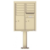 9 Tenant Doors with 2 Parcel Doors and 1 Outgoing Mail Compartment (Pedestal Included) - 4C Pedestal Mount 11-High Mailboxes - 4C11D-09-P