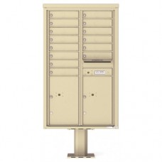 14 Tenant Doors with 2 Parcel Doors and 1 Outgoing Mail Compartment (Pedestal Included) - 4C Pedestal Mount 14-High Mailboxes - 4C14D-14-P