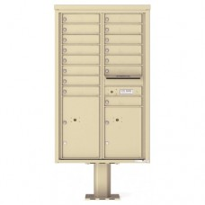 15 Tenant Doors with 2 Parcel Doors and 1 Outgoing Mail Compartment (Pedestal Included) - 4C Pedestal Mount 14-High Mailboxes - 4C14D-15-P