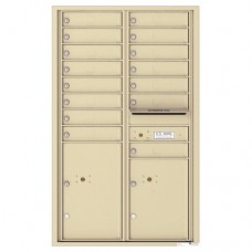 15 Tenant Doors with 2 Parcel Lockers and Outgoing Mail Compartment - 4C Wall Mount 14-High Mailboxes - 4C14D-15