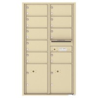 9 Oversized Tenant Doors with 2 Parcel Lockers and Outgoing Mail Compartment - 4C Wall Mount 15-High Mailboxes - 4C15D-09
