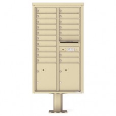 18 Tenant Doors with 2 Parcel Doors and 1 Outgoing Mail Compartment (Pedestal Included) - 4C Pedestal Mount 15-High Mailboxes - 4C15D-18-P