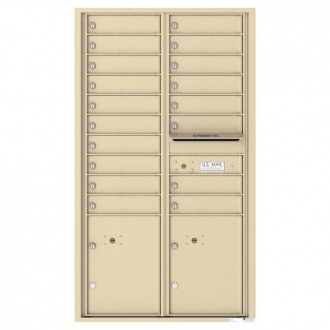 18 Tenant Doors with 2 Parcel Lockers and Outgoing Mail Compartment - 4C Wall Mount 15-High Mailboxes - 4C15D-18