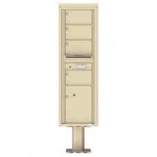 4 Over-sized Tenant Doors with 1 Parcel Door and Outgoing Mail Compartment (Pedestal Included) - 4C Pedestal Mount 15-High Mailboxes - 4C15S-04-P