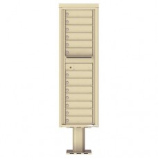 13 Tenant Doors with Outgoing Mail Compartment (Pedestal Included) - 4C Pedestal Mount 15-High Mailboxes - 4C15S-13-P