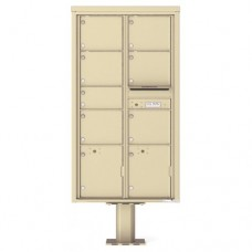 7 Over-sized Tenant Doors with 2 Parcel Doors and 1 Outgoing Mail Compartment (Pedestal Included) - 4C Pedestal Mount Max Height Mailboxes - 4C16D-07-P