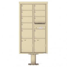 9 Over-sized Tenant Doors with 2 Parcel Doors and 1 Outgoing Mail Compartment (Pedestal Included) - 4C Pedestal Mount Max Height Mailboxes - 4C16D-09-P
