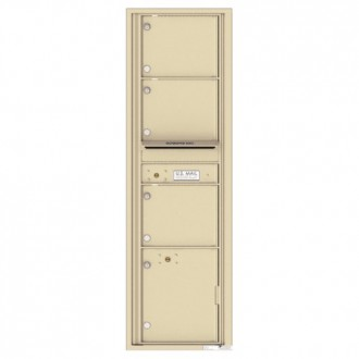 3 Oversized Tenant Doors with 1 Parcel Locker and Outgoing Mail Compartment - 4C Wall Mount Max Height Mailboxes - 4C16S-03
