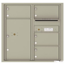 Commercial and Residential Mailboxes-Front Loading Mailbox, 4C Mailbox w/4 Oversized Tenant Compartments, 1 Parcel Locker, 30-1/4""