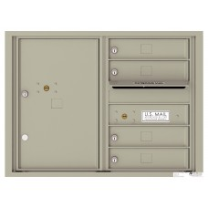 Commercial and Residential Mailboxes-Front Loading Mailbox, 4C Mailbox w/4 Tenant Compartments, 1 Parcel Locker, 23-1/4""