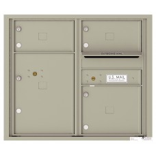 Commercial and Residential Mailboxes-Front Loading Mailbox, 4C Mailbox w/3 Oversized Tenant Compartments, 1 Parcel Locker, 26-3/4""