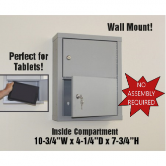 "Mail Room and Office Security 5""D - 2 Door, Locking Tablet Computer Cabinet, FREE QUANTITY SHIPPING!"