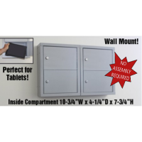 """Mail Room and Office Security 5""""D - 4 Door, Locking Tablet Computer Cabinet"""