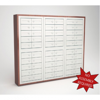 """Mail Room and Office Security Cabinets 9""""D - 60 Door,Cell Phone Cabinet with Wood Trim"""
