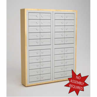 "Mail Room and Office Security Cabinets 9""D - 40 Door, Cell Phone Cabinet with Wood Trim"