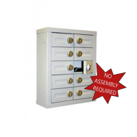 """Mail Room and Office Security 9""""D - 10 Door, Locking Cell Phone Cabinet with Combination Locks"""