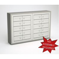 """Mail Room and Office Security cabinets 9""""D - 20 Door, Locking Cell Phone Cabinet with Wood Trim"""
