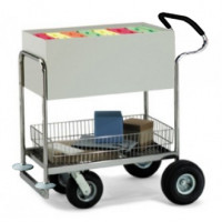 Deluxe Solid Medium Metal Mail Distribution Cart with Cushioned Ergo Handle and Rubber Bumpers