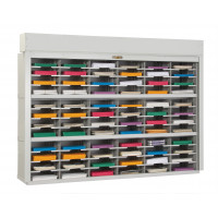 "Mail Sorter with Security Roll Down Tambour Door  72""W - 72 Pockets, 12-3/4"" Depths"