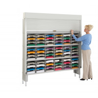 "Mail Sorter with Security Roll Down Tambour Door - 72""W - 96 Pockets, 12-3/4"" Depth"