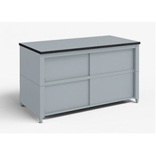"Mail Room and Office Furniture 60""W x 20""D Extra Deep Storage Table with Adjustable Height legs with Center Shelf and Dual Locking Doors."