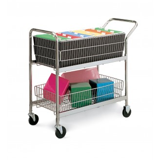 "Medium Wire Basket Mail Cart with 2 Fixed and 2 Swivel 4"" Casters"